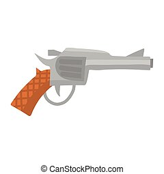 elemento, pistola, vaquero, ilustración, diseño, frío, tierra virgen al oeste, aislado, revólver, plano, blanco, fondo., animación, vector, occidental, arma, juegos, pegatina, style.