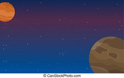 elemento, spazio, paesaggio, notte