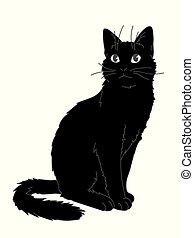 elemento, sticker., líneas, blanco, vector, gato, style., impresión, sitting., ilustración, bosquejo, realista, diseño, simple, negro, gris, fondo., figura, velloso, mirar, arriba., lindo, gatito, su