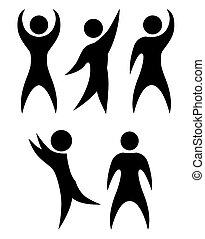 elemento, vector, fondo., objeto, siluetas simples, bailando, negro, separado, conjunto, personas., alegría
