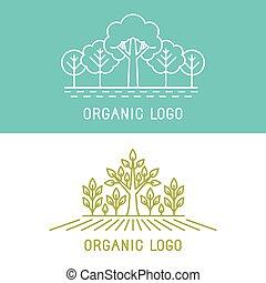 elementos, árboles, vector, diseño, parques, logotipo