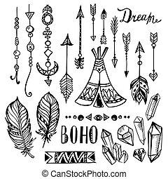 elementos, étnico, boho, conjunto, vector, mano, dibujado, ...
