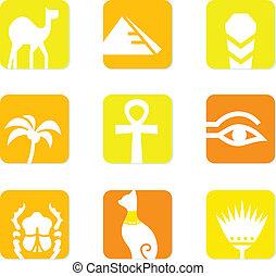 elementos, ícones, egito, isolado, desenho, branca, bloco