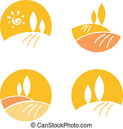 elementos, ícones, país, abstratos, &, -, /, desenho, laranja, paisagem