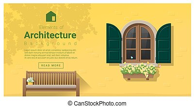 elementos, 14, janela, arquitetura, fundo