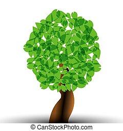 elementos, abstratos, árvore, template., vetorial, desenho, floresta, verde sai