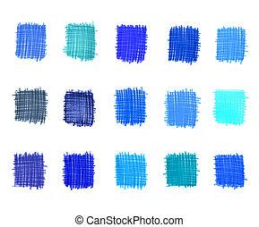 elementos, abstratos, azul, jogo, graduação