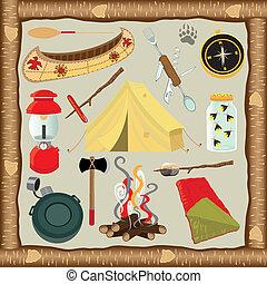 elementos, acampamento, ícones