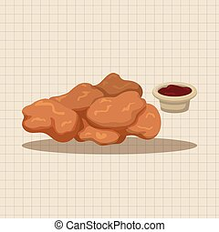 elementos, alimentos, tema, galinha, fritado, pepitas