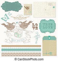 elementos, amor, -, diseño, álbum de recortes, aves