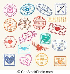 elementos, amor, romántico, vendimia,  vector, diseño, sellos, álbum de recortes, Cartas,  postal, o