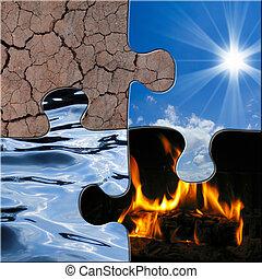 elementos, ar, imagem, simbólico, fogo, quatro, água, solo, mostrando