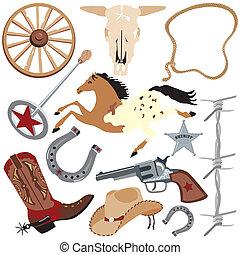 elementos, arte, clip, vaquero