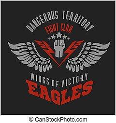 elementos, asas, etiqueta, -, águia, desenho, emblemas, militar