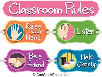 elementos, aula, boletín, reglas