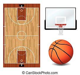 elementos, basquetebol, desenho, ilustração
