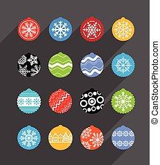 elementos, baubles, cor, collection., desenho, natal