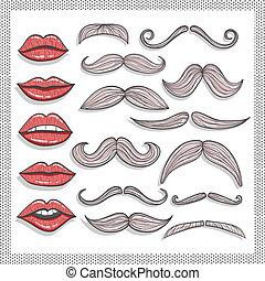 elementos, bigodes, lábios, retro