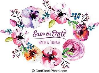 elementos, boda, acuarela, recoger,  vector, invitación, tarjeta