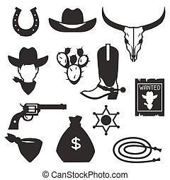elementos, boiadeiro, oeste, objetos, desenho, selvagem