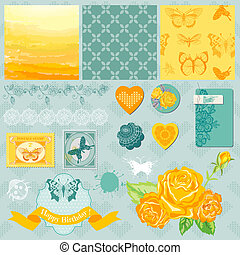 elementos, -, borboletas, tema, vetorial, desenho, scrapbook, ombre