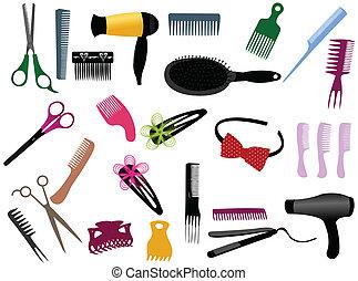 elementos, cabeleireiras