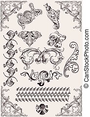 elementos, calligraphic, decoração, vetorial, desenho, página, set: