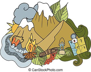 elementos, camping., doodle, -, mão, vetorial, desenhado, turismo, recreation., illustration.