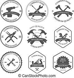 elementos, carpintería, diseño, tools., etiquetas