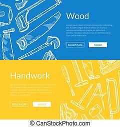 elementos, carpintería, ilustración, mano, vector, dibujado,...