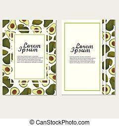 elementos, cartaz, convite, -, veggie, vetorial, modelo, amante, ou, abacate
