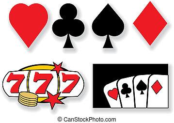 elementos, casino, vector, diseño, tarjetas, juego