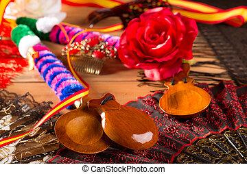 elementos, Castañuelas,  Flamenco,  espana, españa, típico