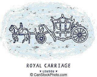 elementos, clipart, set., real, sketchy, britânico, famosos, carruagem, londres, histórico, símbolo