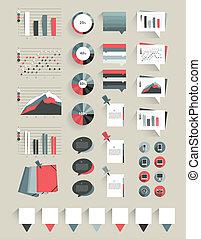 elementos, colección, infographics