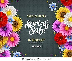 elementos, colorido, oferta, primavera, venta, crisantemo,...