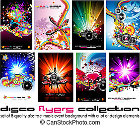 elementos, coloridos, discoteque, música, 8, fundo, voadores, desenho, qualidade, evento