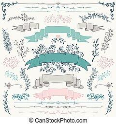 elementos, coloridos, mão, vetorial, desenho, floral, desenhado