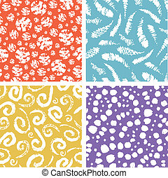 elementos, coloridos, padrão, seamless, textura, pintura, jogo