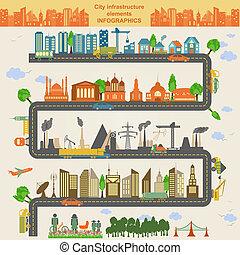 elementos, conjunto, moderno, ciudad