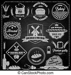 elementos, conjunto, panadería, bread, pizarra