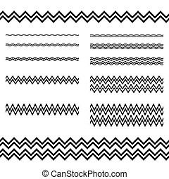 elementos, conjunto, -, zigzag, diseño gráfico, línea, ...