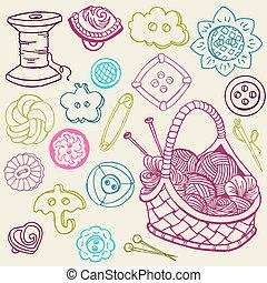 elementos, costura, -, mano, vector, diseño, doodles, ...