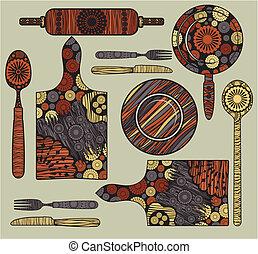 elementos, cozinha