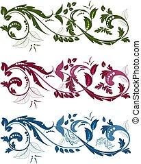 elementos, d, cobrança, rodar, ornamentos, floral, seu