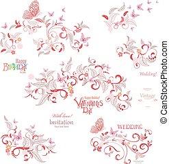 elementos, d, este, butterflies., voando, cobrança, floral, feliz