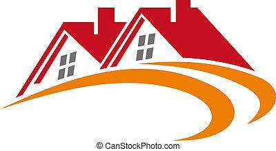 elementos, de, casa, telhados