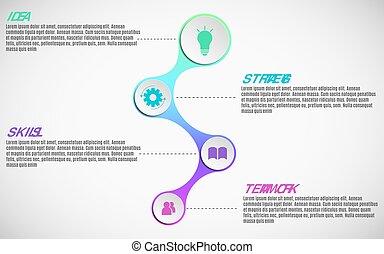 elementos, de, infographics, para, negócio, projects., papel, mapa, em, 3d, style., grande, papel, bandeiras, com, ícones, para, a, web., vetorial, ilustração, de, um, metaball, estilo