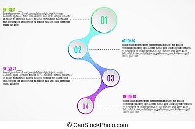elementos, de, infographics, para, negócio, projects., papel, mapa, em, 3d, style., volumetric, papel, círculos, com, opções, números, para, a, web., vetorial, ilustração, de, um, metaball, estilo