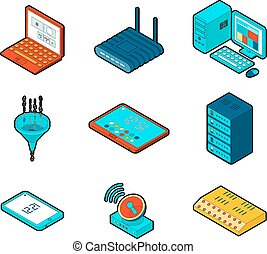 elementos, de, nube, informática, red
